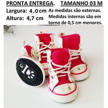 Sapato Tênis Tela Para Cachorro Rosa Pink Tamanho 03 M