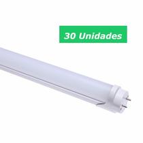 Kit 30 Lâmpada Led T8 Tubular 120cm 18w Branco Frio