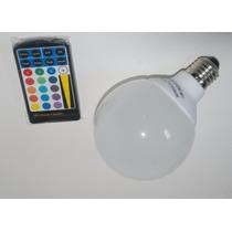 Lampada Led Rgb Colorida E27 3,8w Controle Remoto Com Efeito