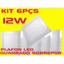 Kit 6pçs Plafon Led Quadrado Sobrepor 12w Bco Frio Bi-volt
