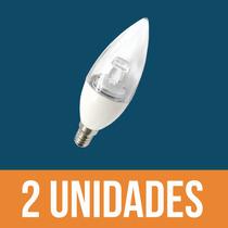 Kit C/ 2 Lâmpadas Led Chama Vela 3w E14 2700k Branco Quente