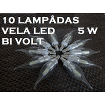 10 Lâmpadas Vela Led 5 Watts Bi Volt Para Lustre Branca