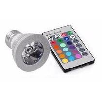 Kit 10 Lâmpada Led 16 Cores Rgb + Controle 3w E27 Spot