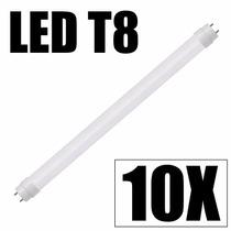 Kit 10 Lampada Led Tubular Tubo T8 60cm 9w Branco Frio 6000k