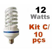 Kit Com 10 Lampada Led Espiral 12w - 6000k Branca Fria