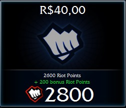 League Of Legends - Lol - 2800 Riot Points - Envio Imediato!