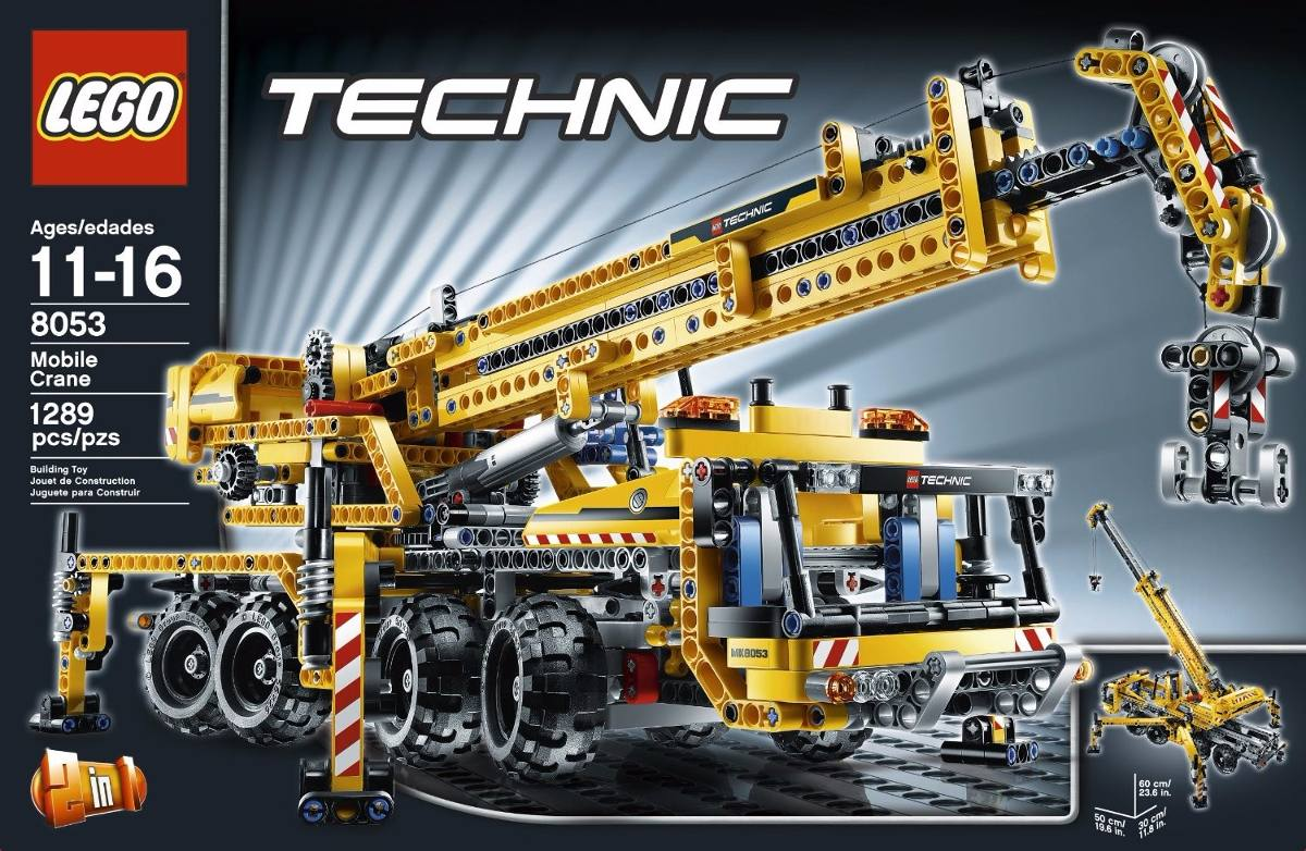 lego technic mobile crane 2em1 8053 power functions 8293 r no mercadolivre. Black Bedroom Furniture Sets. Home Design Ideas