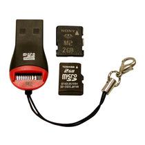 Mini Leitor Gravador 2x1 Usb Cartão Memória M2 E Micro Sdhc