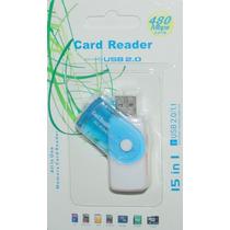 Multi Usb 2.0 Sd Sdhc Card Reader Writer Azul