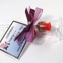 10 Botões De Rosa Na Tacinha C/ Laço Lembrancinha Casamento