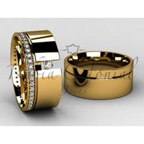 Aliança De Luxo - Ouro 18k. - Diamantes De Qualidade