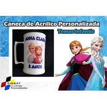 100 Canecas Acrílico Branca Personalizada Frozen 300ml
