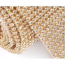 Manta De Strass P/customizar Chinelos Dourada Prata 10x22cm