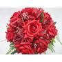 Buquê / Bouquet De Noiva Flores Rosas Artificiais Cb003m