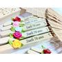 30 Leques Personalizados C/ Nome E Flor De Cetim (casamento)