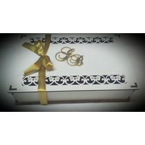 Caixa Convite Casamento Mdf Branco Com Perolas Kit 10 Un.