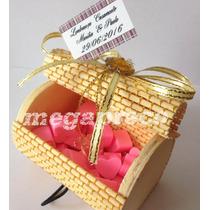 Lembrança Caixa Bambu Com 20 Mini Sabonete Coração Decorada