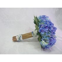 Buque Bouquet Noiva Hortencia Azul Artificiais Cabo Junco