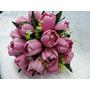 Buque Bouquet Noiva Tulipas Cor De Rosa Artificial