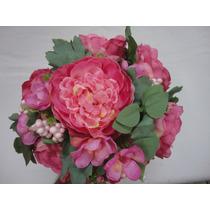 Buque Bouquet Noiva Flores Peonia Artificiais