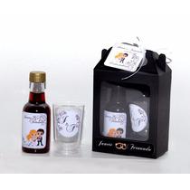80 Kits Mini Vinho Com Tacinhas + Caixinha + Laço + Arte