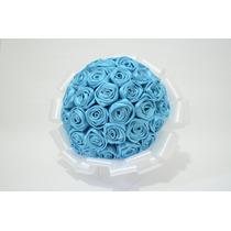 Buque De Flores Em Cetim Azul Para Daminha