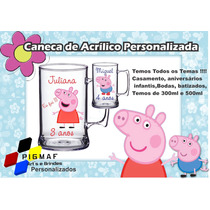 100 Canecas Acrílico Personalizada Peppa Pig