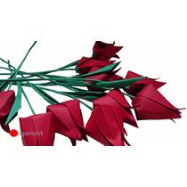 Tulipa De Origami - Pacote Com 10 Unidades