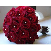 Buque De Noiva Rosas Com Perolas .