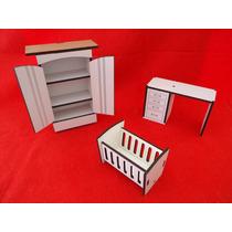Kit Mini-prateleira + Mini-escrivaninha + Mini-berço / Mdf