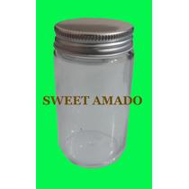 Pote Comprido De Vidro Com Tampa Prata Ou Dourada 115ml