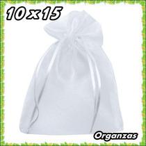 100 Saquinhos De Organza 10x15 C/ Fita De Cetim Branco