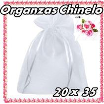 100 Saquinhos De Organza Chinelo C/ Fita De Cetim Branco