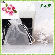50 Saquinhos De Organza 7x9 C/ Fita De Cetim Branco