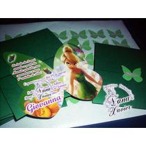 10 Convites Borboleta Com Envelope E Selo