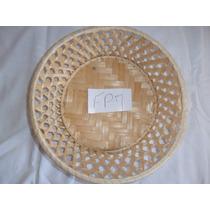 10 Cestas Lembrancinha Palha Bambu Natural 23x23x6 Cm (fp7)
