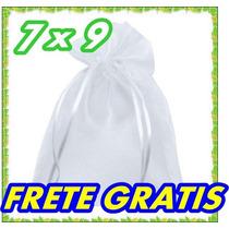 100 Saquinhos De Organza 7x9 C/ Fita De Cetim Branco
