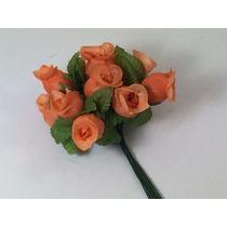 144 Mini Rosas Flores Rosinhas Artificiais Laranja Cetim