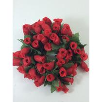 144 Mini Rosas Vermelhas Flores Rosinhas Artificiais Cetim