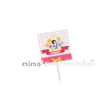 20 Capa Pirulito 5x5cm Personalizado - Tema Princesas