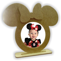 Porta Retrato Minnie Ou Mickey - Mdf Cru