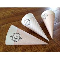 50 Cone Guloseimas Personalizados Festa Doces Lembrancinha