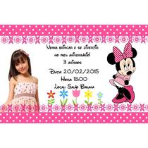Convites Personalizados Minnie 50 Unidades Rosa Ou Vermelho