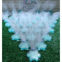 100 Sabonetes Floco Neve Frozen Embalado (tule + Laço Cetim)