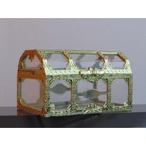 Mini Baú Acrilico Com Dourado 10cm - Pct C/ 24 Unidades
