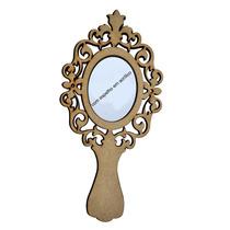 10 Espelhos De Mão Princesa Tam. 30x14 Mdf Crú Com Espelho