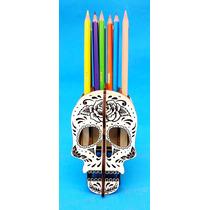 Caveira Mexicana Porta Lápis - Mdf Branco - Fabrício Laser