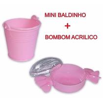 10 Mini Baldinho Plástico + 10 Bombom Acrílico P/ Doce