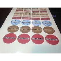 75 Adesivos Personalizados Em Papel + Laminação 3,5cmx1,5cm.