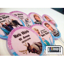 60 Tags Totens Toppers Frozen Personalizados Festa